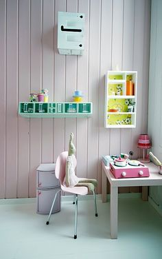 I like the idea of each kid having a corner/station. They can keep their favorite toys in that area & as they get older they can be homework desk areas