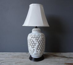 Pierced Blanc de Chine Hollywood Regency Lamp $110.00