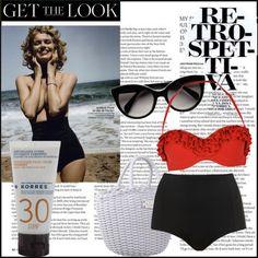 Retro Summer in Greece Retro Summer, Get The Look, Bikinis, Swimwear, Greece, Swimming, Shoe Bag, Stuff To Buy, Shopping