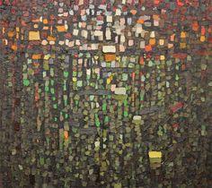 Anna Wolska - Reflections, 2013, impasto abstract painting, 100x100cm, oil on canvas