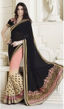 Black Color Georgette Embroidered Party Wear Sarees with Blouse | FH449670611 #heenastyle , #saree , #sari , #wedding , #boutique , #blouse , #fashion , #style , #designer , #sarees , #saris , @heenastyle