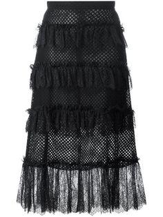 PHILOSOPHY DI LORENZO SERAFINI ruffled sheer skirt. #philosophydilorenzoserafini #cloth #skirt