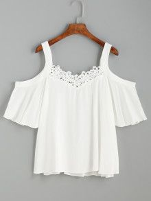 White Cold Shoulder Crochet Trim Top