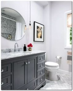 Small Bathroom Design: Get Bathroom Renovation Ideas In This Video! Get gorgeous bathroom design ideas! H&H partnered with The Home Depot to give a dated small bathroom a complete makeover with a classic grey Bad Inspiration, Bathroom Inspiration, Bathroom Design Small, Bathroom Interior Design, Classic Bathroom Design Ideas, Traditional Bathroom Design Ideas, Best Bathroom Designs, Gray Vanity, Beautiful Bathrooms