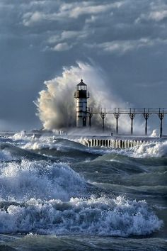 The powerful crash and churn of Lake Michigan waves against the lighthouse at St Joseph, Michigan, USA No Wave, St Joseph Michigan, Beautiful World, Beautiful Places, Beautiful Ocean, Amazing Places, Lighthouse Pictures, All Nature, Nature Quotes