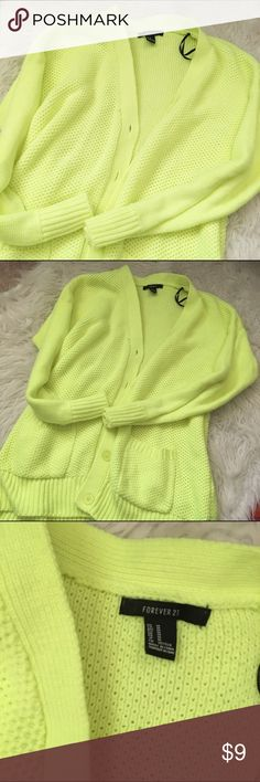 F21 Neon Cardigan Super cute and warm! ❤ NO TRADES ❤ ❤ YES OFFERS ( bundle offers too) ❤ ❤ NO LOWBALLS ❤ ❤ FREE GIFT $25 + ❤ ❤ CLOSET DISCOUNT 15% OFF 2+ ❤ Forever 21 Sweaters Cardigans