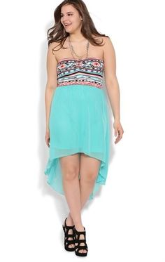 Deb Shops Plus Size High Low Dress with Tribal Bodice $33.75