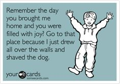 someecards.com - Remember the day you brought me home and you were filled with joy? Go to that place because I just drew all over the walls and shaved the dog.