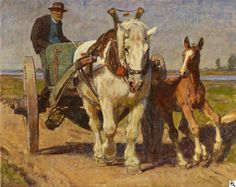 Julius Paul Junghanns: Bauer mit Pferdekarren und Fohlen am Niederrhein aus unserer Rubrik: Gemälde des 19. Jahrhunderts