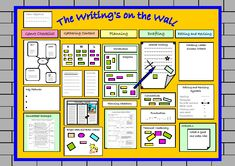 Working wall - The wall should exemplify the writing process from the 'reading as a writer' stage… Working Wall Display, Literacy Working Wall, Year 6 Classroom, Ks2 Classroom, Primary Classroom Displays, Literacy Display, Reading Display, Primary Teaching, Teaching Writing