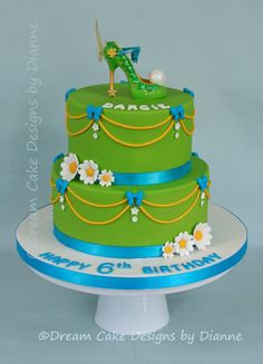 'DARCIE' ~ BRIGHT GREEN TINKERBELL THEMED CAKE WITH SPARKLY SHOE TOPPER Sparkly Shoes, Dream Cake, Centre Pieces, Bright Green, Celebration Cakes, Themed Cakes, Celebrity Weddings, Cake Designs, Luxury Wedding