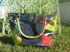 Vintage Quilt and Jeans Purse by TshirtTotesandmore on Etsy, $40.00