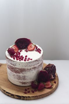 Red Velvet Cake | pomegranates and strawberries
