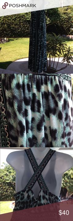 INC 1X Leopard Maxi Dress Mint Condition INC 1X Maxi Dress. Colts are black, white and robins egg.  See picture for detail INC International Concepts Dresses Maxi