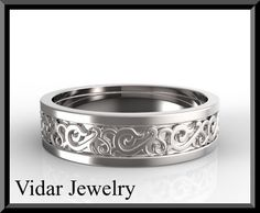 Statement 14k White Gold Men's Wedding Ring  This White Gold Wedding Band will be a ring that your groom will be proud to wear!   **We can customize this ring to be in other gemstone e.g. Diamond, Ruby, Emerald, Topaz, etc Please contact us for quotation.   Details:  SKU: Wedd107m   Metal/weight/detail: 14K White/Yellow/Rose, About 7Gr.  width: 5.5mm  Thick: 1.5mm $1290
