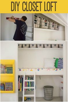 room diy closet Create a loft, reading and play space in a closet ~ such a smart idea! Baby Bunk Beds, Bunk Beds Small Room, Bunk Beds With Stairs, Kid Beds, Bunk Rooms, Loft Beds, Playroom Closet, Bed In Closet, Kid Closet
