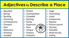 List Of Positive Adjectives, Adjectives For Kids, English Verbs, English Language, Adjective Word List, Writing Skills, Writing Tips, Describing Words, Good Vocabulary Words