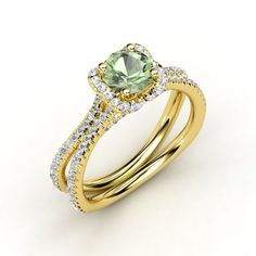 Miranda Ring #customizable #jewelry #greenamethyst #gold #ring
