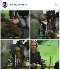 """Tammy Lane on Richard acting dead Thorin:""""Even dead he doesn't shut up."""" BOTFA EE bts"""
