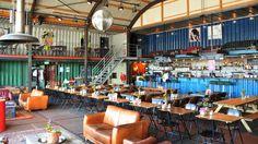 Restaurant Pllek, NDSM-werf naast de helling en de kraan. DINSDAG: Films with a view om 21:30 (buiten als het mooi weer is)