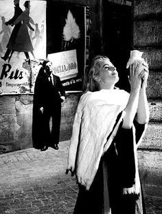 Anita Ekberg and Marcello Mastroianni in La Dolce Vita (Federico Fellini, 1960), via Monica Alletto