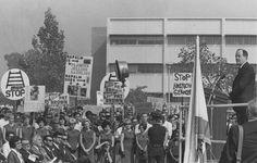 U.S. Vice President Hubert Humphrey speaking at San Fernando Valley State College, 1966. University Archives.