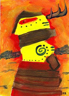 he who sees but won't say e9Art ACEO Western Desert Shaman Outsider Art Painting Brut Abstract Figurative