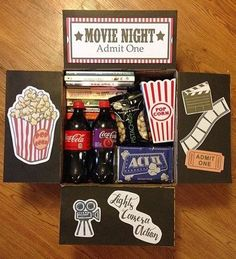 41 Trendy Gifts Ideas For Boyfriend Just Because Care Packages Date Night Basket, Movie Basket Gift, Movie Night Gift Basket, Date Night Gifts, Movie Gift, Cute Birthday Gift, Birthday Gifts For Best Friend, Diy Birthday, Diy Gifts For Boyfriend