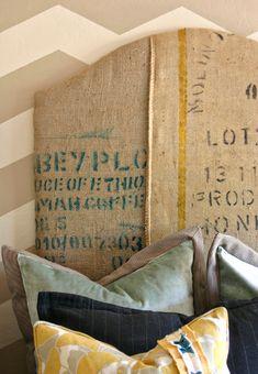 Fabulous grainsack headboard by Jilly and Mia