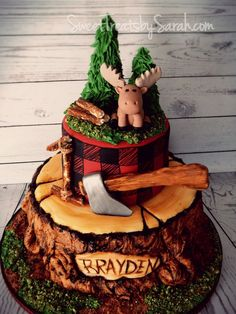 Lumberjack Birthday Cake, Tree Stump Cake