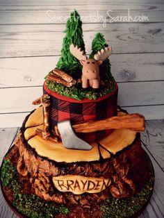 Lumberjack Birthday Cake, Tree Stump Cake