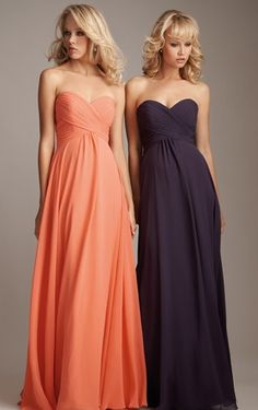 Modern Orange Empire Pleats Sweetheart Chiffon Long Bridesmaid Dresses UK
