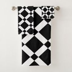 Abstract geometric pattern - black and white. bath towel set - black and white gifts unique special b&w style