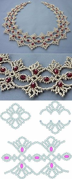 Terrific Images Beadwork necklace Suggestions Carefully thread strain can create a substantial affect on how your jewelry looks. No-one really wants to exp Crochet Jewelry Patterns, Beaded Necklace Patterns, Beading Patterns, Beaded Necklaces, Diamond Necklaces, Bracelet Patterns, Diamond Pendant, Crochet Necklace, Seed Bead Tutorials