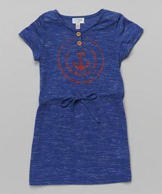 Love this Blue Anchor Drawstring Dress - Toddler & Girls on #zulily! #zulilyfinds