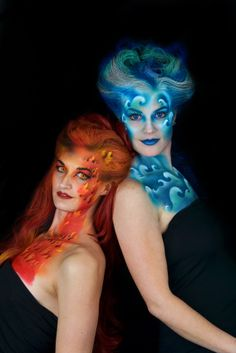 Body Painting Men, Belly Painting, Ice Makeup, Body Makeup, Fire Costume, Hair Shows, Fantasy Makeup, Fantasy Hair, Fire And Ice