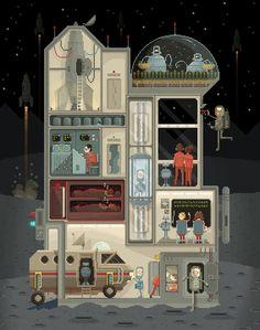 "Scene #2: ""Moon Base"". Pixel Art by Octavi Navarro http://www.pixelshuh.com/ #pixelart #videogames"