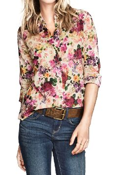 Floral button down. Moda Floral, Latest Street Fashion, Latest Fashion For Women, Womens Fashion, Denim Jeans, Floral Fashion, Casual Looks, Dress To Impress, Ideias Fashion