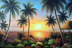 Hawaii-Sunset-Beach-Houses-Palm-Tree-Pacific-Island-Stretched-24X36-Oil-Painting