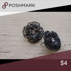 Floral earrings Black floral earrings with stud in the middle Charlotte Russe Jewelry Earrings
