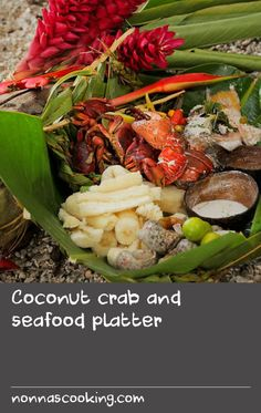 Coconut crab and seafood platter   For the best results, use the freshest seafood you can afford for this recipe. It is served with two sauces - both have lime juice and chilli, but one is made with rich, sweet coconut cream, and the other with seawater (though at home, you can used salted water).