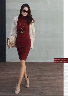 New Korean Women's In The Fashion Slim Office Sleeve Collar Long Dress Sweater