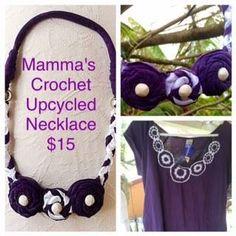 Handmade by Mamma's Crochet  Bib necklace For more information, please visit www.facebook.com/HandmadeMarkets Crochet Bib, Jewelry Ideas, Upcycle, Handmade Jewelry, Colours, Jewellery, Facebook, Style, Flannels