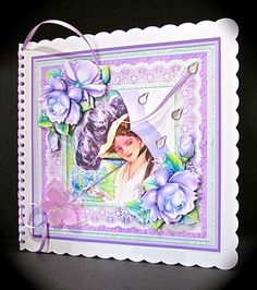 VINTAGE LADY WITH PARASOL 8x8 Mini Kit Decoupage on Craftsuprint designed by Janet Briggs - made by Cynthia Massey