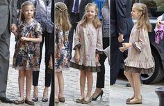 Los Reyes, los príncipes de Asturias con sus hijas y la infanta Elena asisten a…