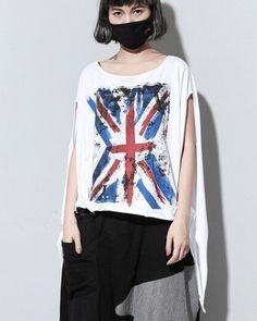 Hip hop British flag t shirt for girls loose short sleeve tops irregular hem