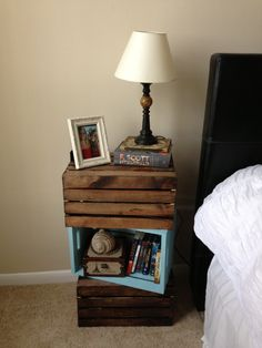 Handmade DIY nightstand made from painted crates