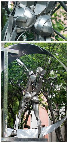 """October 2016 - Fesses of the Month - This sculpture, entitled """"To Albert Camus,"""" was realized in stainless steel by Michel Poix in 1986. It stands at place du Colonel Fabien in the 10th arrondissment and represents a man with outstretched arms standing in a Möbius strip."""