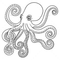 Buy Hand Drawn Tribal Octopus by i_panki on GraphicRiver. Hand drawn tribal Octopus, animal totem for adult Coloring Page in zentangle style, for tattoo, illustration with hig. Octopus Coloring Page, Animal Coloring Pages, Adult Coloring Pages, Ocean Coloring Pages, Octopus Sketch, Octopus Drawing, How To Draw Octopus, Octopus Octopus, Octopus Painting
