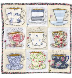Sharon Blackman: Wellington boots etc! Freehand Machine Embroidery, Free Motion Embroidery, Embroidery Applique, Applique Patterns, Applique Quilts, Quilt Patterns, Applique Ideas, Fabric Cards, Fabric Postcards